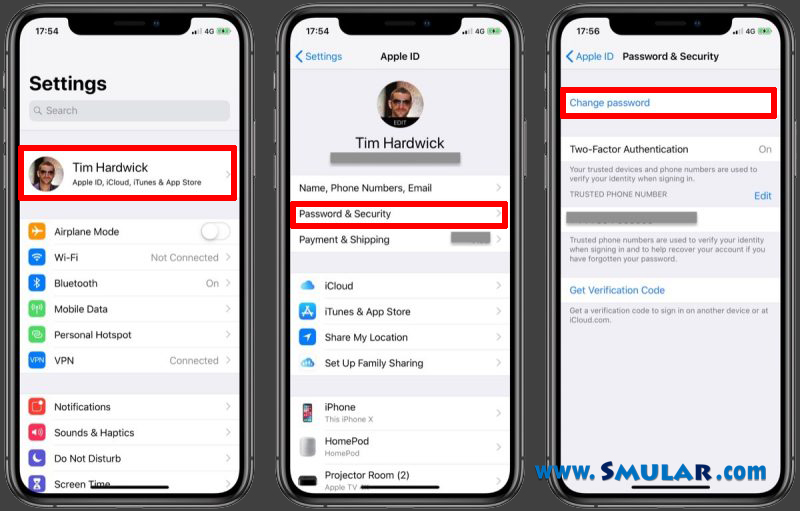 change apple id from iphone